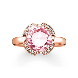 "THOMAS SABO SOLITAIRE RING ""SIGNATURE LINE PINK PAVÉ"""